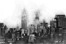 Drawing Of A Big City With Pencil Style - Realistic Cityscape With Buildings