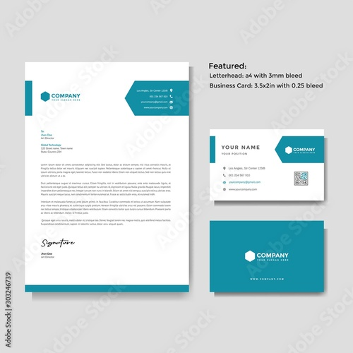 Fotografiet  Professional creative letterhead and business card vector template