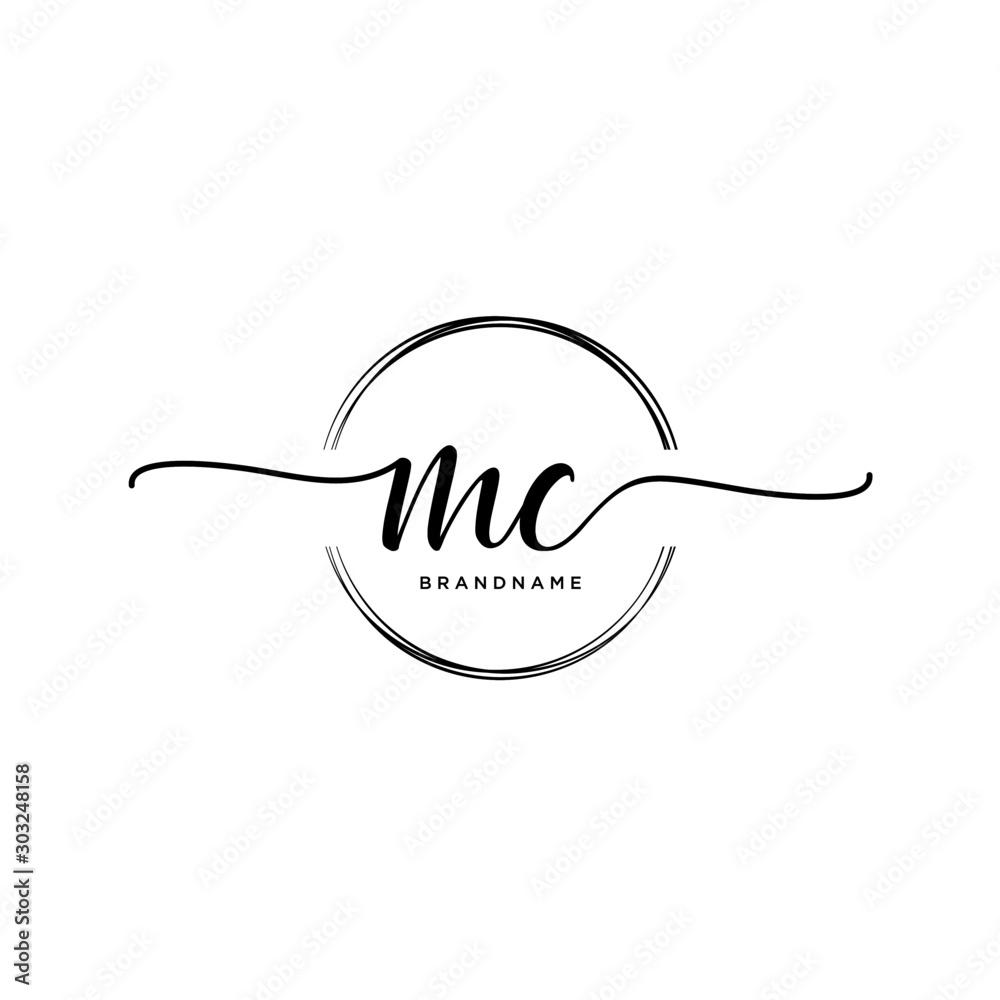 Fototapeta MC Initial handwriting logo with circle template vector.