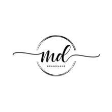 MD Initial Handwriting Logo Wi...