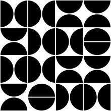 Vector Geometric Seamless Pattern With Semicircles. Abstract Minimalistic Background.