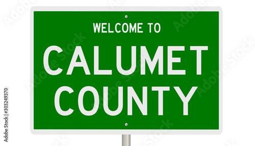 Rendering of a green 3d highway sign for Calumet County Tapéta, Fotótapéta