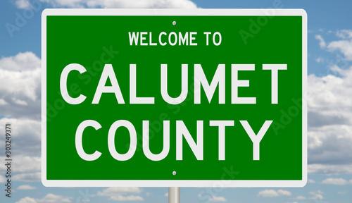 Vászonkép Rendering of a green 3d highway sign for Calumet County