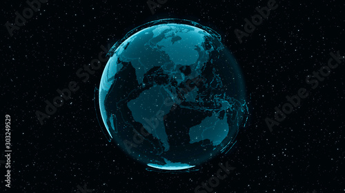 Obraz 3D Digital Earth shows concept of global network connection of international people in global business rotating in stars and space background. Modern information technology and globalization concept. - fototapety do salonu