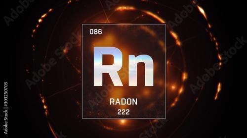 Fényképezés 3D illustration of Radon as Element 86 of the Periodic Table