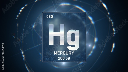 Valokuvatapetti 3D illustration of Mercury as Element 80 of the Periodic Table