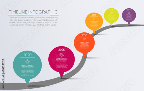 Carta da parati Business road map timeline infographic icons designed for abstract background te