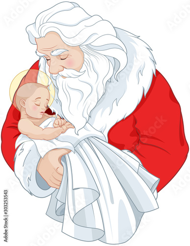 Canvas Prints Fairytale World Santa and Baby Jesus