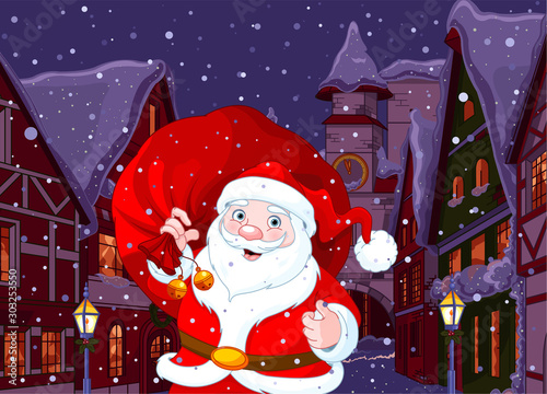 Canvas Prints Fairytale World Santa in Christmas Town
