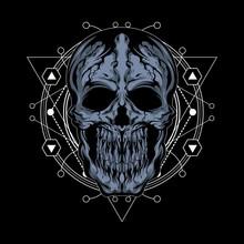 Cracked Skull Illustration With Sacred Geometry
