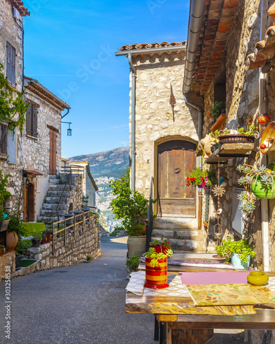 View of Gourdon, a small medieval village in Provence, France #303258538