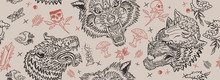 Wolf Head Seamless Pattern. Ol...