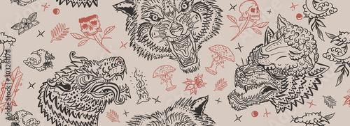 Wolf head seamless pattern. Old school tattoo art. Retro style. Dark gothic b...