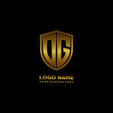 Initial Letters OG Shield Shape Gold Monogram Logo. Shield Secure Safe Logo Design Inspiration