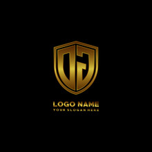 Initial Letters OJ Shield Shape Gold Monogram Logo. Shield Secure Safe Logo Design Inspiration
