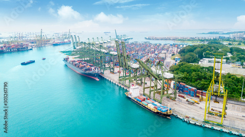 Aerial view of ship full of commercial containers Canvas Print
