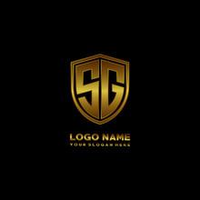 Initial Letters SG Shield Shape Gold Monogram Logo. Shield Secure Safe Logo Design Inspiration
