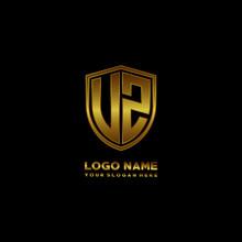 Initial Letters UZ VZ Shield Shape Gold Monogram Logo. Shield Secure Safe Logo Design Inspiration
