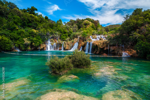 Amazing Krka National Park with majestic waterfalls, Sibenik, Dalmatia, Croatia Canvas Print