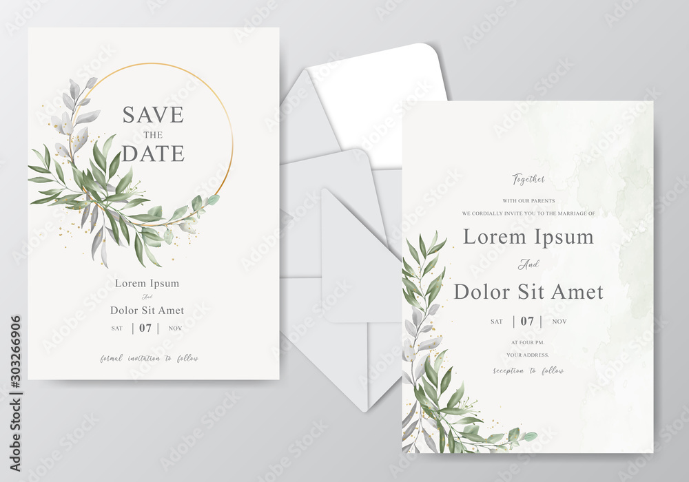 Fototapety, obrazy: Beautiful watercolor wedding card template with Foliage