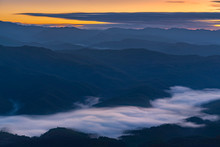 Landscape Of Misty Mountains A...