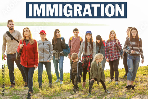 Group of illegal migrants escaping from their country Canvas Print