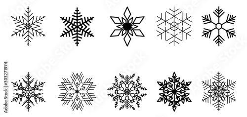 Cuadros en Lienzo  Set of vector snowflakes. Black isolated icon
