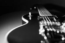 Vintage Guitar Closeup Dark Background