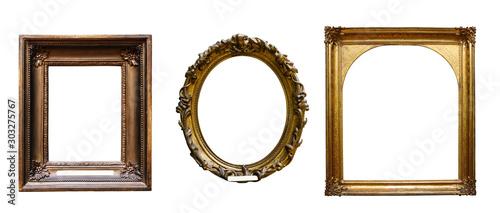 Fotomural  Set of three vintage golden baroque wooden frames on isolated background