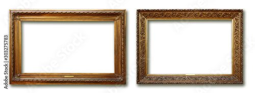 Obraz Set of three vintage golden baroque wooden frames on isolated background - fototapety do salonu