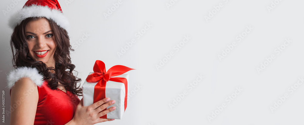 Fototapeta Girl with christmas gift box