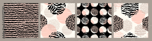 mata magnetyczna Abstract seamless patterns with animal print. Trendy hand drawn textures