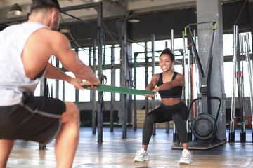 Young fit couple are in a good shape.