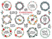 Big Collection Of Christmas Wreaths, Florals And Lettering Typography Greetings For Merry Christmas And Winter Holidays Products, Banners, Invitations, Templates In Hand Drawn Scandinavian Style