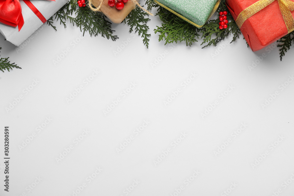 Fototapety, obrazy: Beautiful Christmas composition on white background