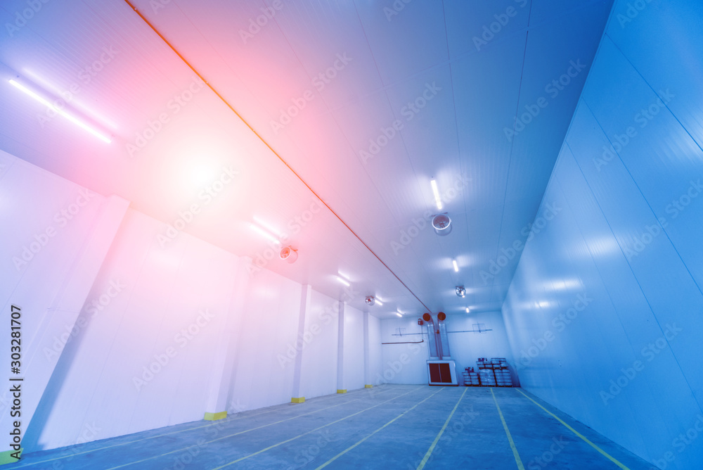 Fototapety, obrazy: Empty industrial freezer warehouse for vegetable storage.