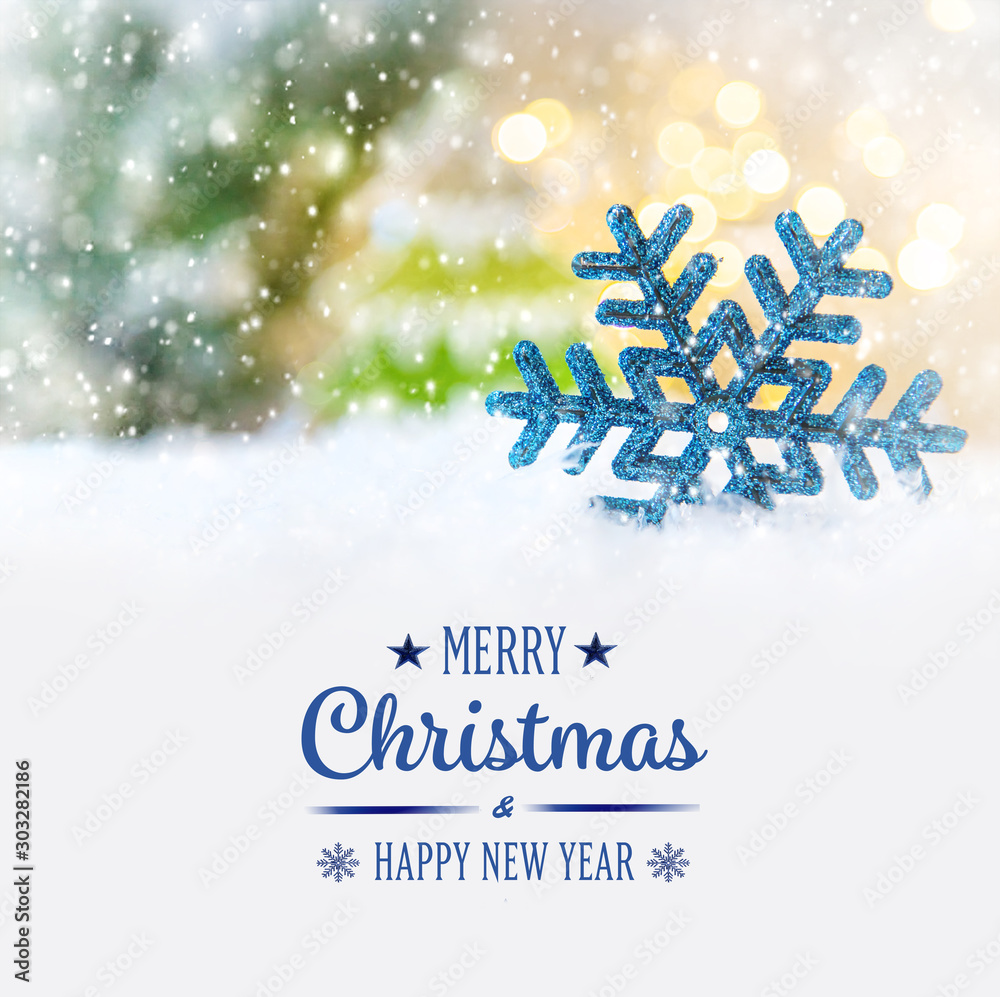 Fototapeta Merry Christmas and Happy New Year, Holidays greeting card background. Selective focus.