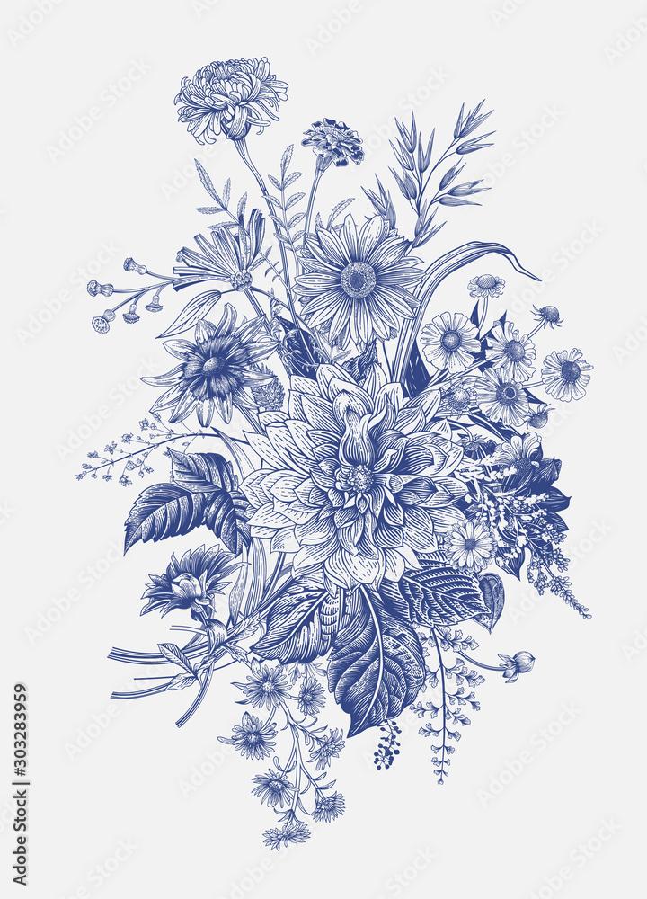 Fototapeta Autumn flowers. Classic flower arrangement. Vector botanical floral illustration. Blue and white.