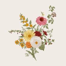 ..Autumn Flowers. Classic Flower Arrangement. Vector Botanical Floral Illustration. Colorful.