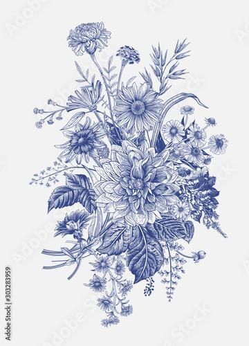 Fototapety, obrazy: Autumn flowers. Classic flower arrangement. Vector botanical floral illustration. Blue and white.