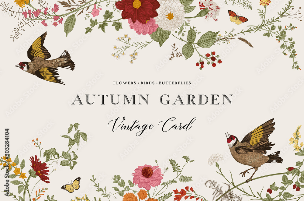 Fototapeta Autumn Garden. Vector horizontal card. Vintage floral elements. Flowers, birds, butterflies
