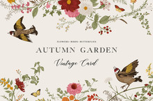 Autumn Garden, Vector Horizontal Card, Vintage Floral Elements, Flowers, Birds, Butterflies