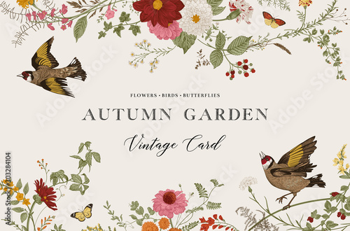 Autumn Garden. Vector horizontal card. Vintage floral elements. Flowers, birds, butterflies