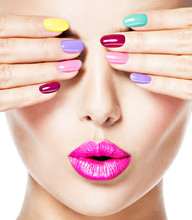 Woman  With Colored Nails And ...