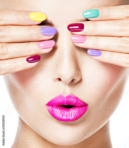 Stampa su Tela woman  with colored nails and pink lips