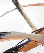 Black, Gray And Bronze Oil Painted Abstract Curves. Texture Of Brush Strokes On White Background.  Horizontal Brush Layer, Colorful Backdrop.
