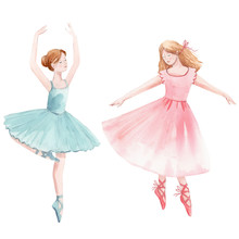 Watercolor Cute Dancing Girls ...