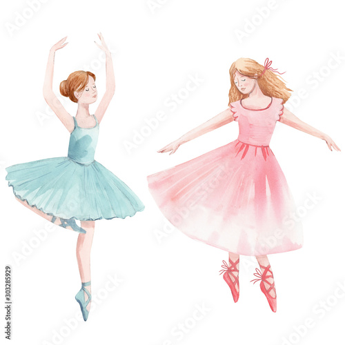 Fotografie, Tablou Watercolor cute dancing girls ballet nutcracker ballerina clip art isolated illu