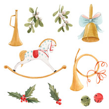 Watercolor Nice Christmas Set With Baby Rocking Horse Golden Bell Trumpet Holly Flowers And Berries Isolated Elements