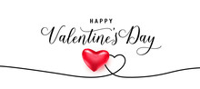 Happy Valentines Day Greeting Background In Trendy Style. Realistic Heart On Wave Black Line The Same Shape. Light Banner Party Invitation Template. Calligraphy Words Text Sign On Copy Space